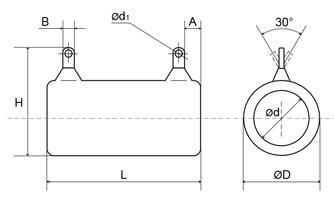 Габаритные и установочные размеры резисторов ПЭВ